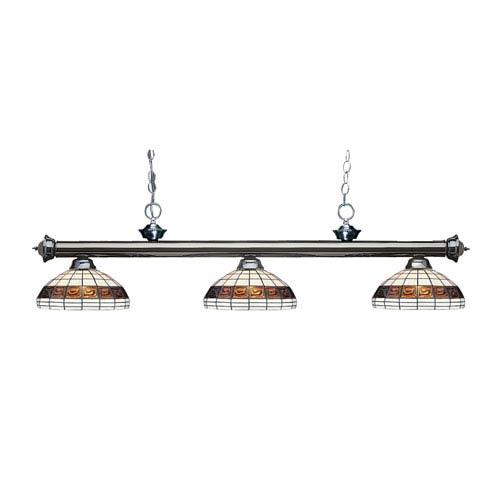 Riviera Gun Metal Three-Light Billiard Pendant with Tiffany Glass