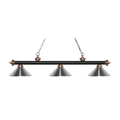 Z-Lite Riviera Matte Black and Antique Copper Three-Light Pendant with Chrome Metal Shades