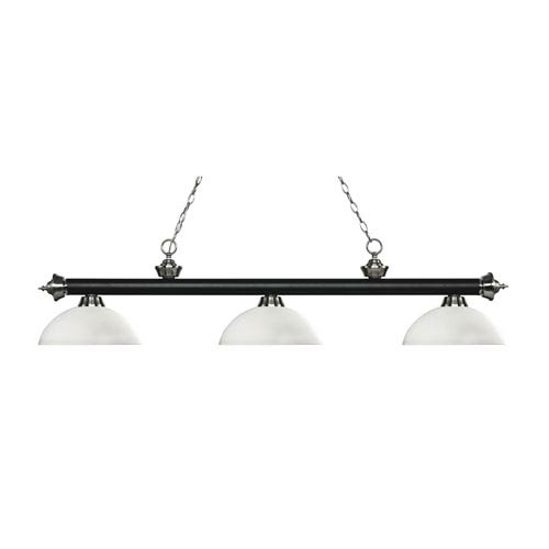 Riviera Matte Black and Brushed Nickel Three-Light Pendant with Dome Matte Opal Glass