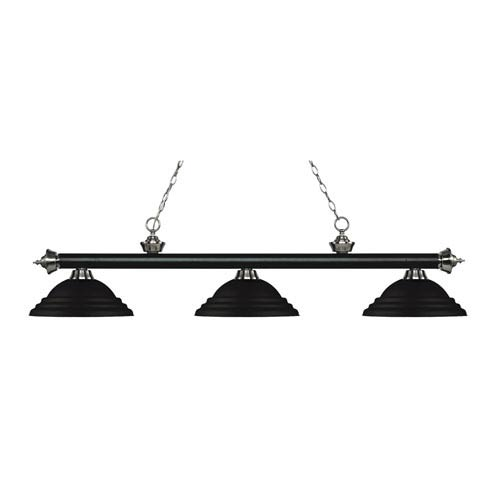 Riviera Black and Brushed Nickel Three-Light Pendant with Stepped Black Metal Shades