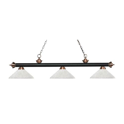 Riviera Matte Black and Antique Copper Three-Light Pendant with Angle White Linen Glass