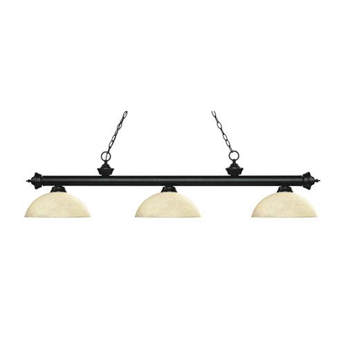 Riviera Matte Black Three-Light Pendant with Dome Golden Mottle Glass