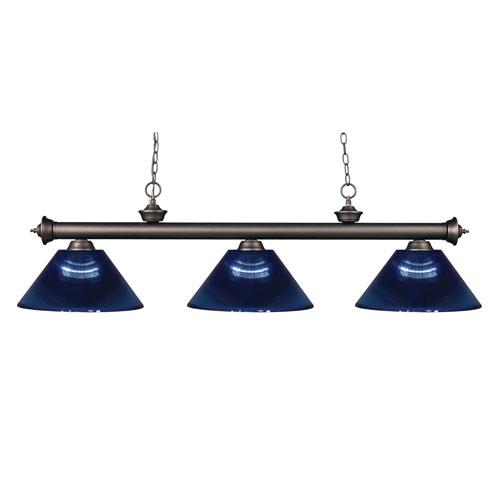 Riviera Olde Bronze Three-Light Billiard Pendant with Dark Blue Acrylic Shades