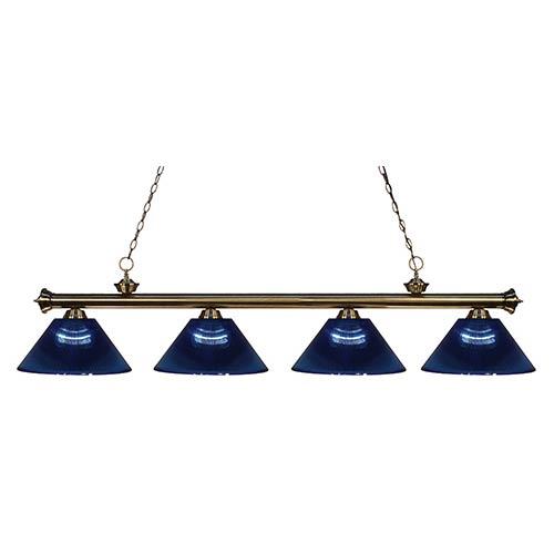 Z-Lite Riviera Antique Brass Four-Light Pendant with Dark Blue Shade