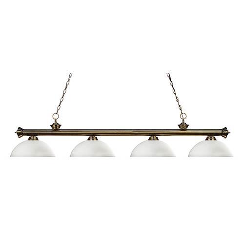 Z-Lite Riviera Antique Brass Four-Light Pendant with Dome Matte Opal Glass