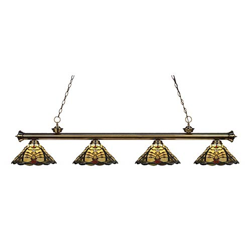 Z-Lite Riviera Antique Brass Four-Light Pendant  200-4AB-Z14-46