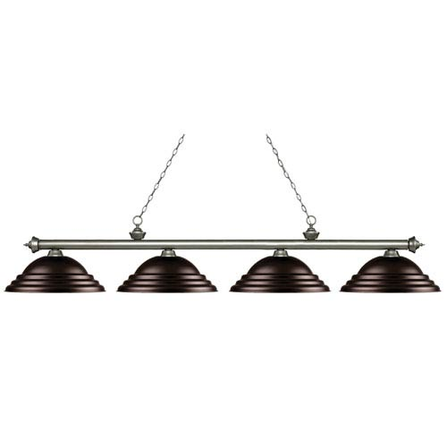 Riviera Antique Silver Four-Light Billiard Pendant with Stepped Bronze Shades