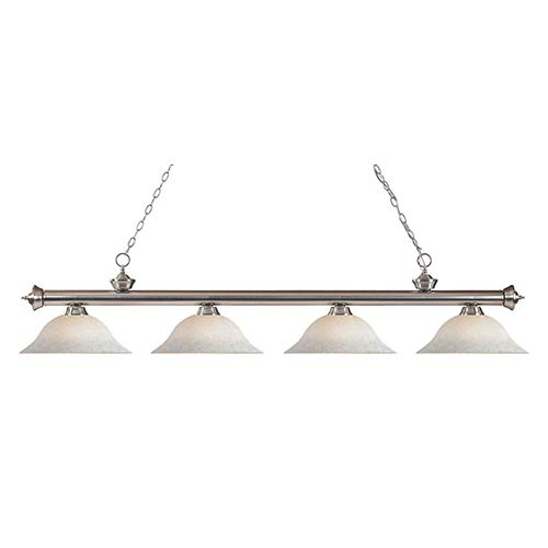 Riviera Brushed Nickel Four-Light Pendant with White Mottle Glass