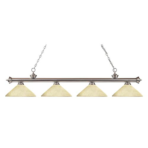 Z-Lite Riviera Brushed Nickel Four-Light Pendant with Angle Golden Mottle Glass
