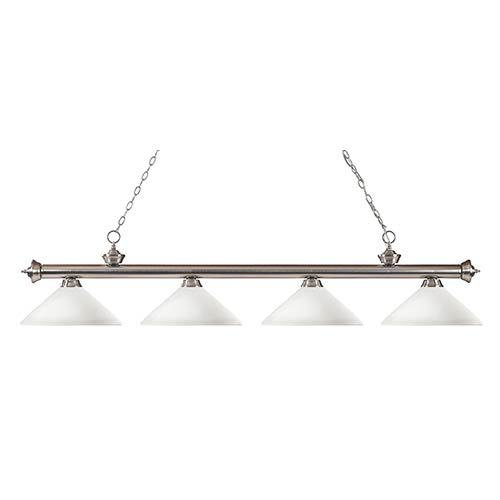 Z-Lite Riviera Brushed Nickel Four-Light Pendant with Angle Matte Opal Glass
