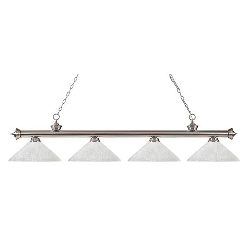 Z-Lite Riviera Brushed Nickel Four-Light Pendant with Angle White Linen Glass