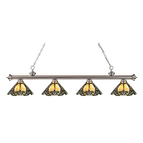 Z-Lite Riviera Brushed Nickel Four-Light Pendant with Multicolor Tiffany Glass Cone Shade