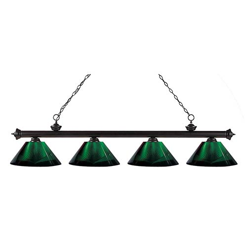 Riviera Bronze Four-Light Pendant with Green Shade