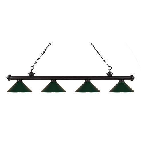 Riviera Bronze Four-Light Pendant with Dark Green Shade