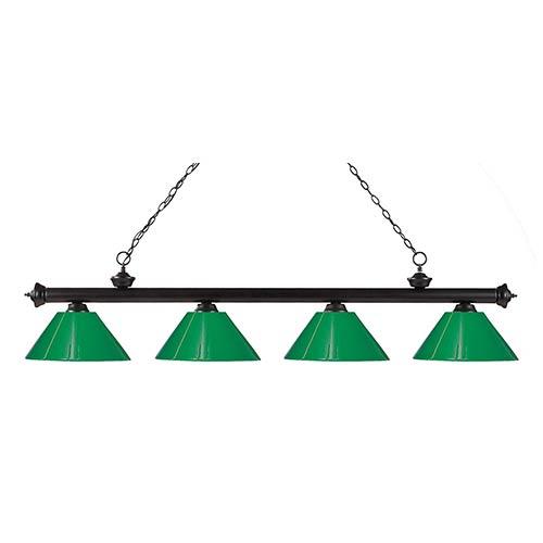 Riviera Bronze Four-Light Pendant with Green Plastic Shade
