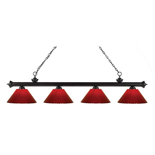 Riviera Bronze Four-Light Pendant with Red Plastic Shade