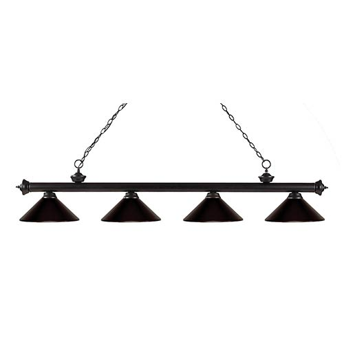 Riviera Bronze Four-Light 14-Inch Wide Pendant with Bronze Metal Shades