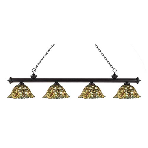 Z-Lite Riviera Bronze Four-Light Pendant with Bell Multicolor Tiffany Glass