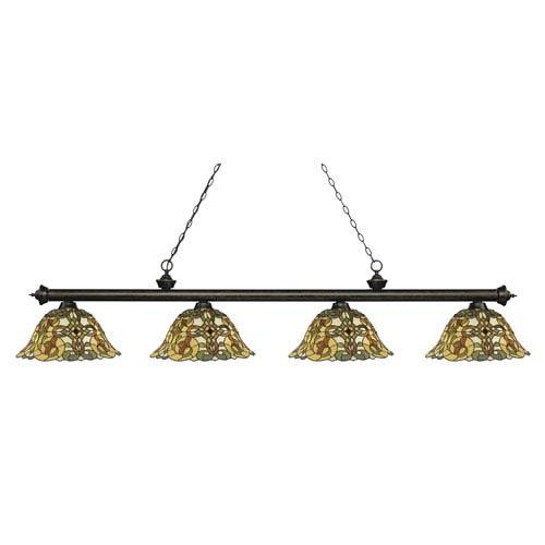 Riviera Golden Bronze Four-Light Billiard Pendant with Tiffany Glass