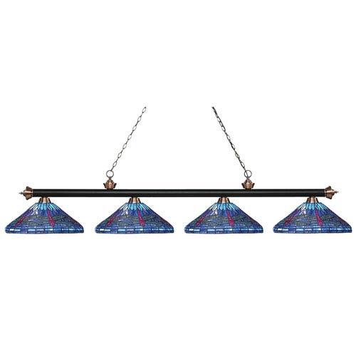 Riviera Matte Black and Antique Copper Four-Light Billiard Pendant with Tiffany Glass