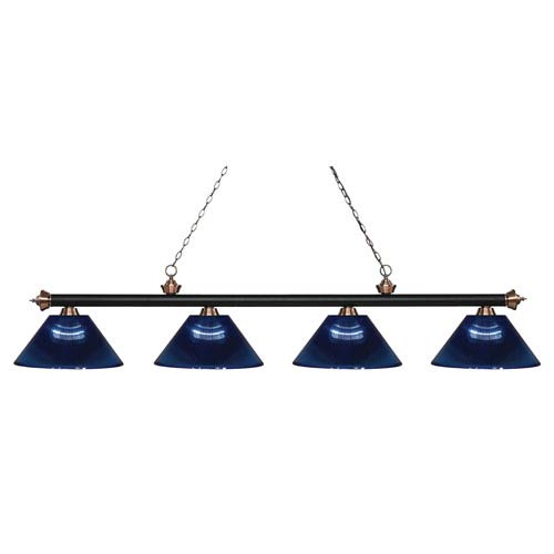 Riviera Matte Black and Antique Copper Four-Light Billiard Pendant with Dark Blue Acrylic Shades
