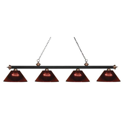 Riviera Matte Black and Antique Copper Four-Light Billiard Pendant with Burgundy Acrylic Shades
