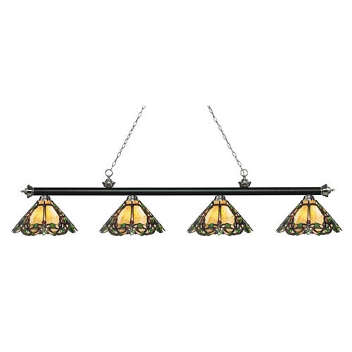 Riviera Matte Black and Brushed Nickel Four-Light Billiard Pendant with Tiffany Glass