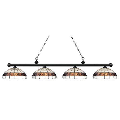 Riviera Matte Black Four-Light Billiard Pendant with Tiffany Glass