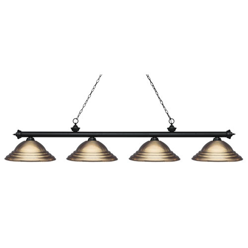 Riviera Matte Black Four-Light  Billiard Light with Antique Brass Steel