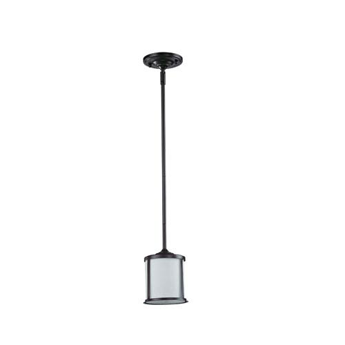 Z-Lite Sonna One-Light Bronze Mini Pendant with Matte Opal Glass Shade