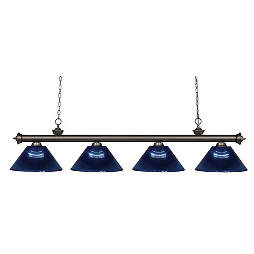 Z-Lite Riviera Olde Bronze Four-Light Pendant with Dark Blue Shade