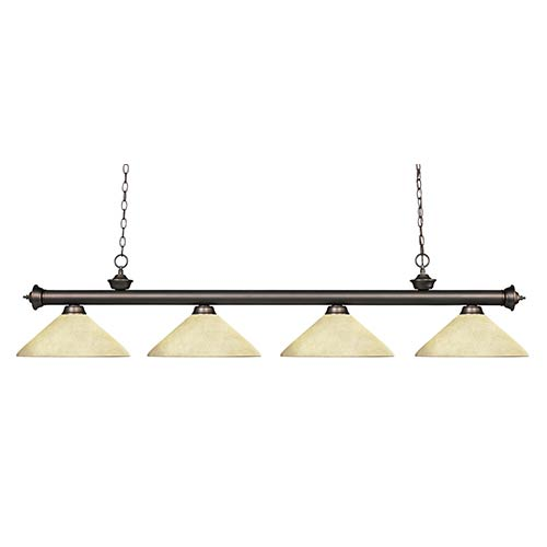 Z-Lite Riviera Olde Bronze Four-Light Pendant with Angle Golden Mottle Glass