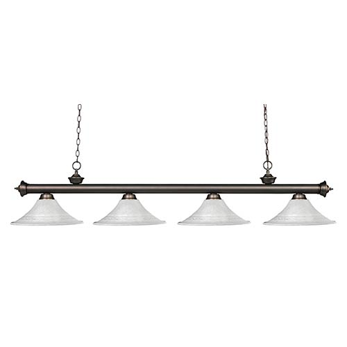 Z-Lite Riviera Olde Bronze Four-Light Pendant with Fluted White Mottle Glass