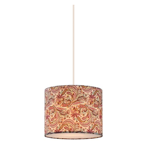 Astra White 10-Inch One-Light Mini Pendant with Burgundy Fabric Shade
