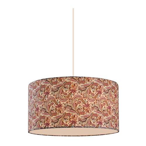 Astra White 16 Inch Three Light Pendant With Burgundy Fabric Shade