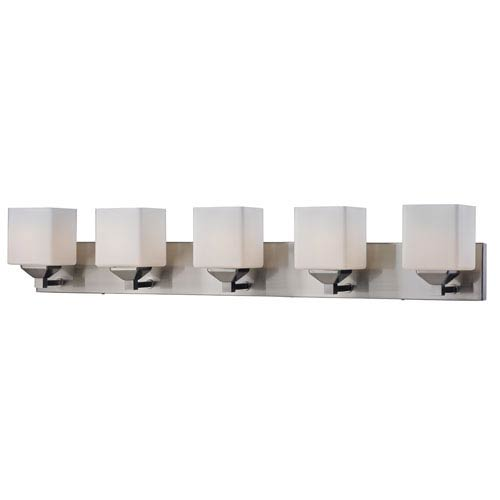 Z-Lite Quube Five-Light Brushed Nickel Vanity Light with Matte Opal Glass Shades