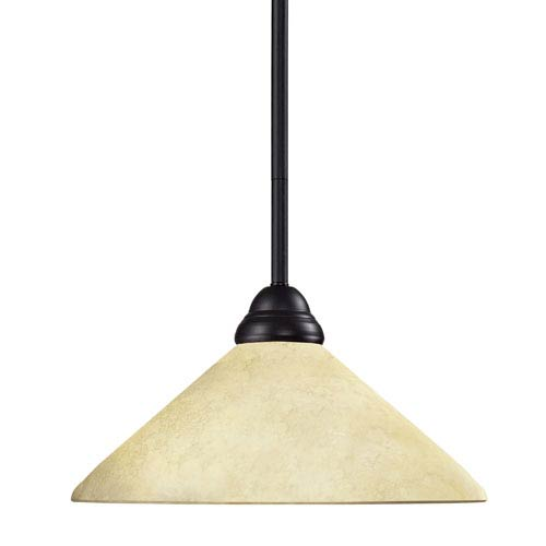Z-Lite Riviera One-Light Bronze Dome Pendant with Angled Golden Mottle Shade