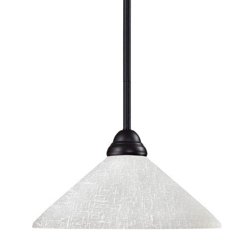 Z-Lite Riviera One-Light Bronze Dome Pendant with Angled White Linen Glass Shade