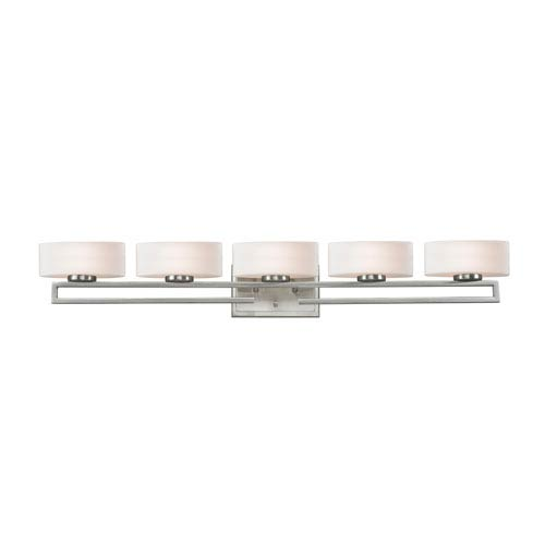 Z-Lite Cetynia Five-Light Brushed Nickel Vanity Light with Curved Matte Opal Glass Shades