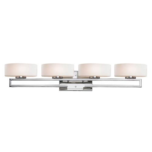 Cetynia Four-Light Chrome Vanity Light with Curved Matte Opal Glass Shades