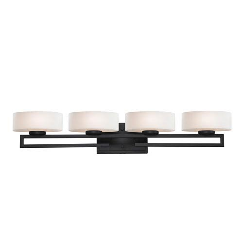 Z-Lite Cetynia Four-Light Painted Bronze Vanity Light with Rounded Matte Opal Glass Shades