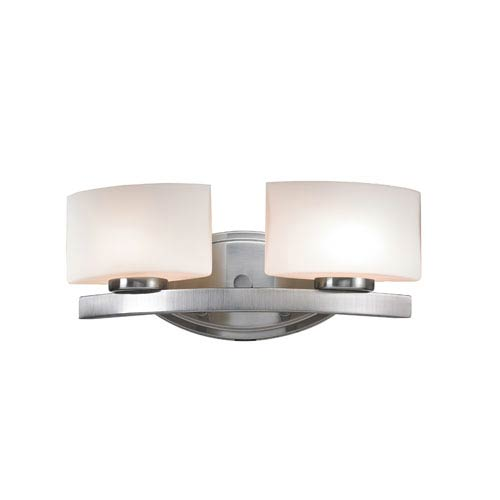 Z-Lite Galati Two-Light Brushed Nickel Vanity Light with Rounded Matte Opal Glass Shades