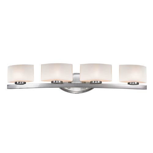 Z-Lite Galati Four-Light Brushed Nickel Vanity Light with Rounded Matte Opal Glass Shades