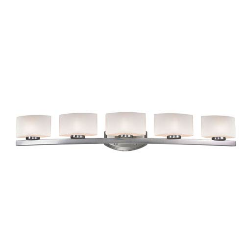 Z-Lite Galati Five-Light Brushed Nickel Vanity Light with Rounded Matte Opal Glass Shades