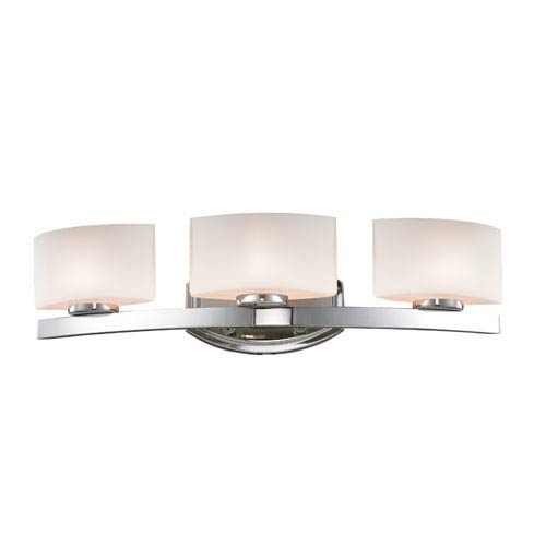 Z-Lite Galati Three-Light Chrome Vanity Light with Rounded Matte Opal Glass Shades