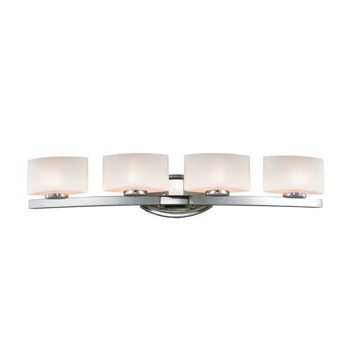 Z-Lite Galati Four-Light Chrome Vanity Light with Rounded Matte Opal Glass Shades