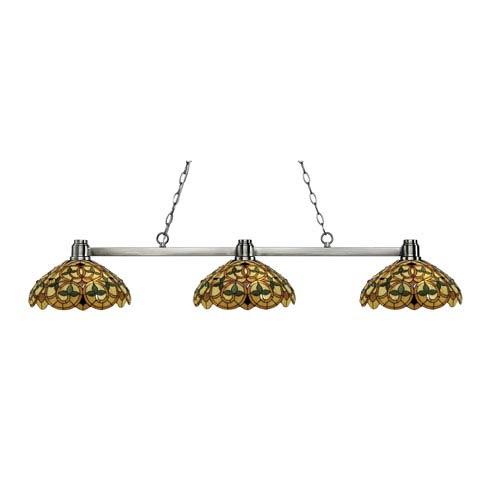 Park Brushed Nickel Three-Light Billiard Pendant with Tiffany Glass