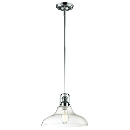 Z-Lite Forge Chrome One-Light Pendant with Clear Glass