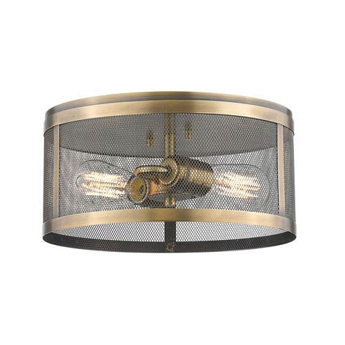 Meshsmith Natural Brass 12-Inch Two-Light Flush Mount