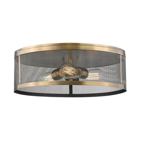 Meshsmith Natural Brass 18-Inch Three-Light Flush Mount